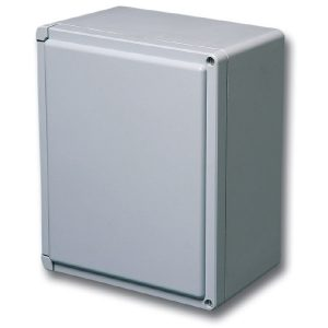 "Centurion 7 x 7 x 5 inches CE707HW Enclosure Product Image : Opaque Cover ""HW"" Configuration – Hinged, 2 Cover Screws"