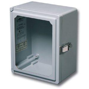 "Centurion 7 x 7 x 5 inches CEW707HPL Enclosure Product Image : Flush Bonded Window ""HPL"" Configuration – Hinged, Padlock Latch"