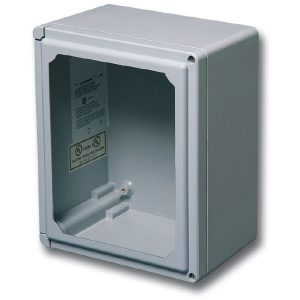 "Centurion 7 x 7 x 5 inches CEW707HW Enclosure Product Image : Flush Bonded Window ""HW"" Configuration – Hinged, 2 Cover Screws"