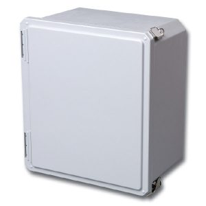 "Freedom 8 x 8 x 4 inches FR80804HPL Enclosure Product Image : ""HPL"" Configuration – Hinged, 2 Lockable Pull Latches"