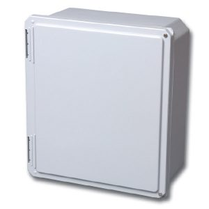 "Freedom 8 x 8 x 4 inches FR80804HW Enclosure Product Image : ""HW"" Configuration – Hinged, 2 Cover Screws"