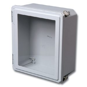 "Freedom 8 x 8 x 4 inches FRW80804HPL Enclosure Product Image : Flush Bonded Window ""HPL"" Configuration – Hinged, 2 Lockable Pull Latches"