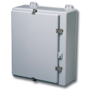"Triton 24 x 20 x 10 inches T242010HWT Enclosure Product Image : Opaque Cover ""HWT"" Configuration – Stainless Steel Hinged, Latched Down Cover"