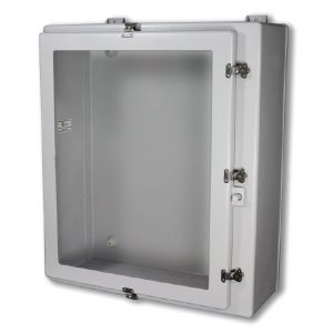 "Triton 24 x 20 x 8 inches TW24208HWT Enclosure Product Image : Flush Bonded Window ""HWT"" Configuration – Stainless Steel Hinged, Latched Down Cover, Window"