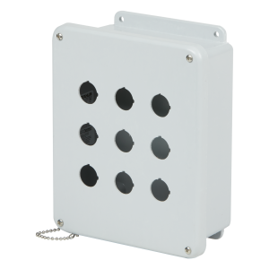 Commander 8 x 6 x 4 inches CO6PBW Enclosure Product Image : 4 Cover Screws, Lift Off Cover, 6 Holes 30 mm