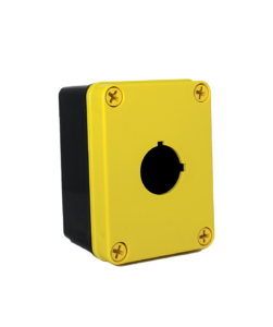 Yellow Commander 4 x 3 x 2 inches YW-COPC1PB Enclosure Product Image : Polycarbonate with 4 Cover Screws, Lift Off Cover, 1 Hole 30 mm Molded in yellow and black. List Price – $76.91