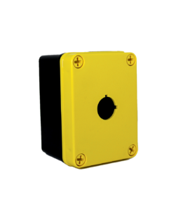 Yellow Commander 4 x 3 x 2 inches YW-COPC1PB22 Enclosure Product Image : Polycarbonate with 4 Cover Screws, Lift Off Cover, 1 Hole 22 mm Molded in yellow and black. List Price – $76.91