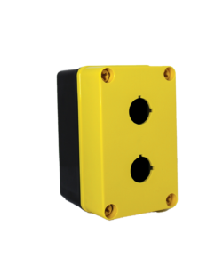 Yellow Commander 5 x 3 x 3 inches YW-COPC2PB22 Enclosure Product Image : Polycarbonate with 4 Cover Screws, Lift Off Cover, 2 Holes 22 mm Molded in yellow and black. List Price – $84.17